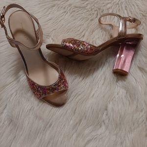 Nine West Phishin Clear Pink Heel Rose Gold Sequin